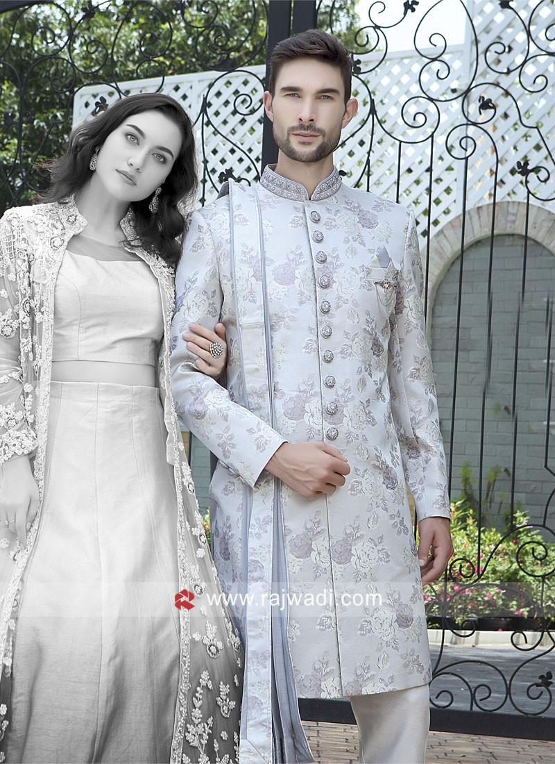 Grey Brocade Silk Sherwani With Dupatta