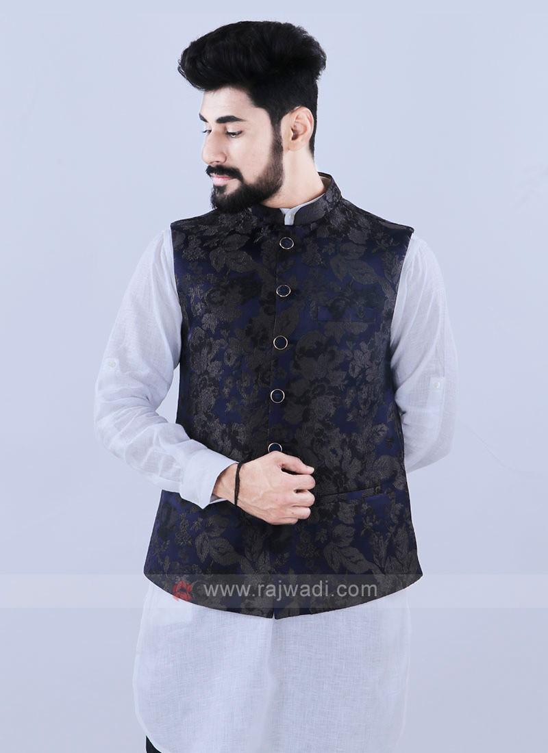 Jacquard Silk Blue Nehru Jacket