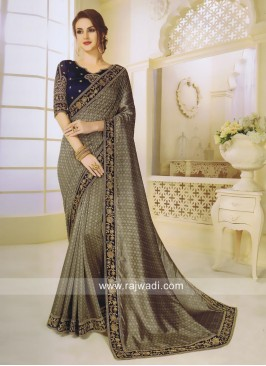 Jacquard Silk Dark Beige Saree