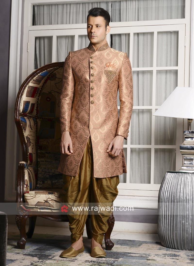 Jacquard Silk Fabric Indo Western For Wedding