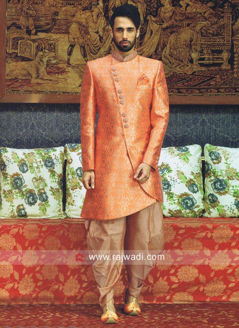 Jacquard Silk Indo Western with Fancy Buttons