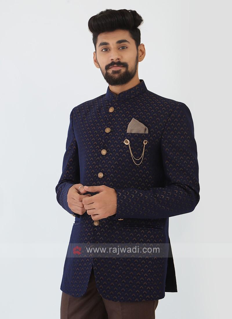 Jacquard Silk Jodhpuri Suit