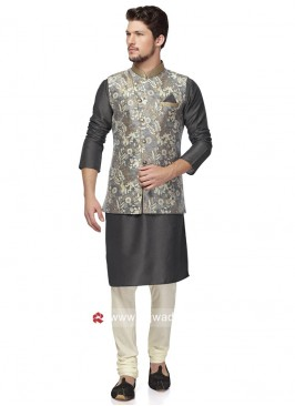 Designer Grey Color Nehru Jacket