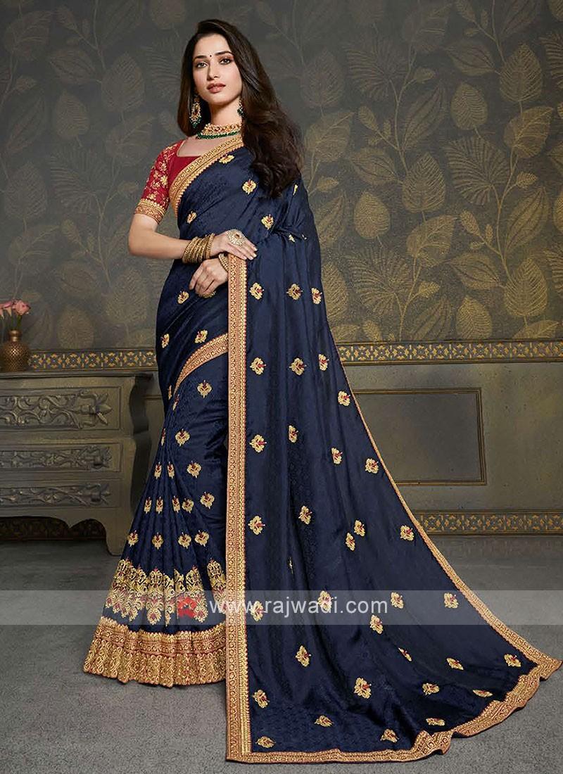 Jacquard Silk Navy Color Saree