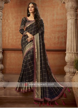 Jacquard Silk Saree In Black