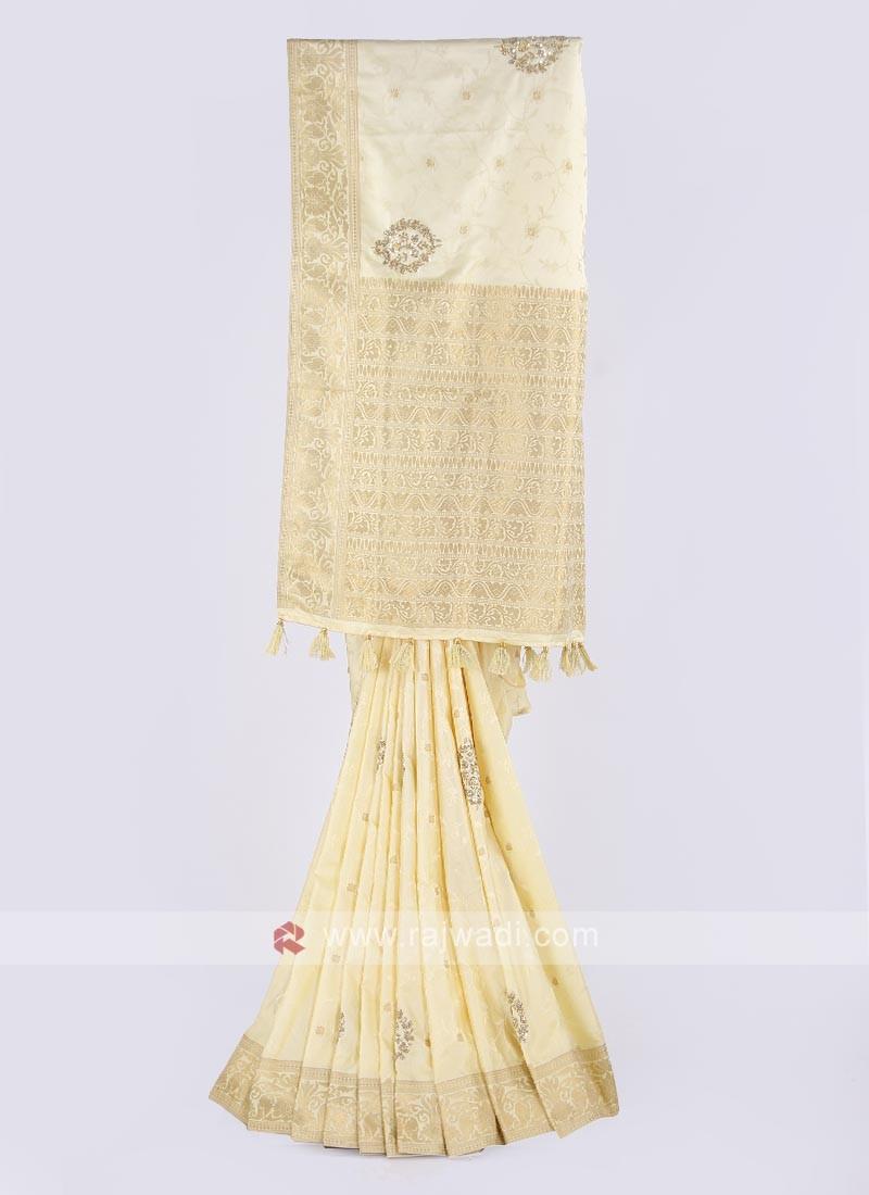 Jacquard silk saree in lemon yellow color