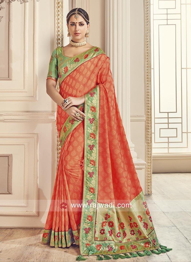 Jacquard Silk Sari with Blouse