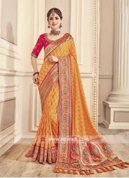 Jacquard Silk Sari with Tassels