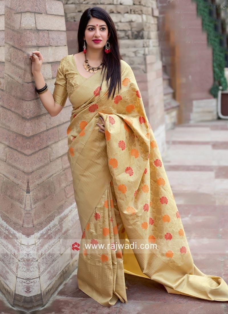 Jamdani Silk Saree in Beige