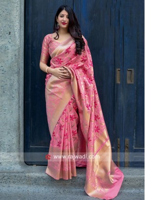 Jamdani Silk Woven Saree in Pink