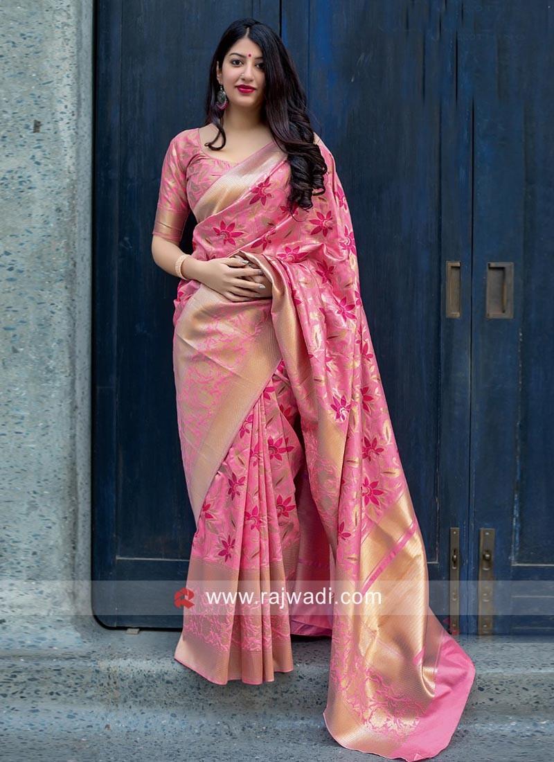 Jamdani Silk Woven Saree in Pink