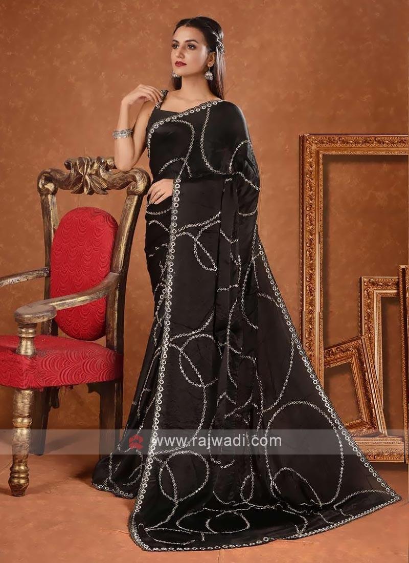 Jarkan hand work saree in black