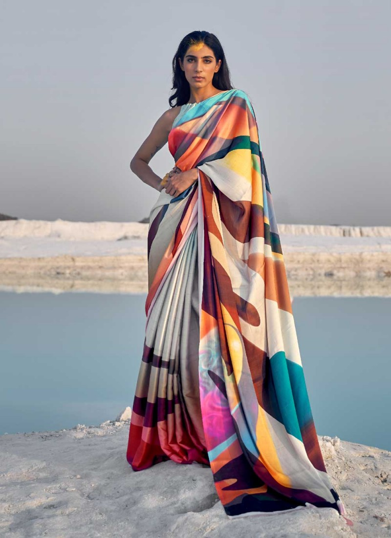 Jazzy Multi Colour Abstract Print Casual Saree