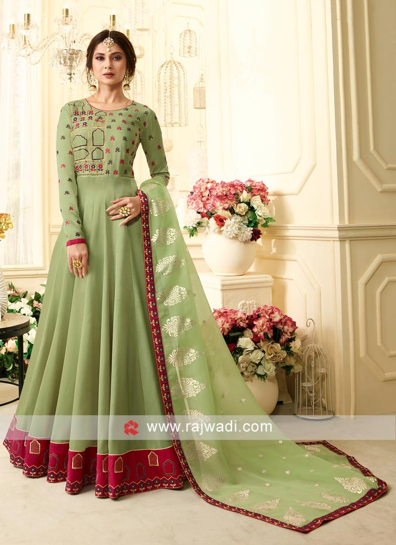 Jennifer Winget Banglori Silk Floor Length Anarkali Suit