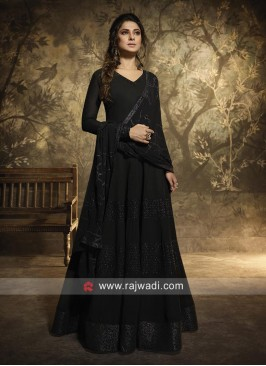 Jennifer Winget Georgette Anarkali Suit in Black
