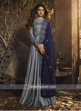 Jennifer Winget Satin Silk Eid Anarkali Suit