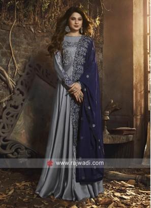 Jennifer Winget Satin Silk Eid Anarkali Suit