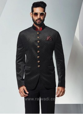 Jodhpuri Suit in Black with Contrast Neckline