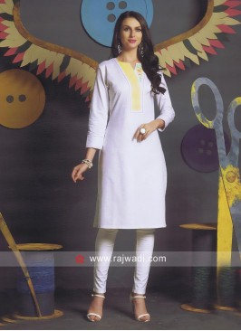 Jute Cotton White Kurti
