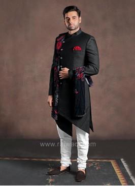 Jute Fabric Indo Western With Velvet Dupatta