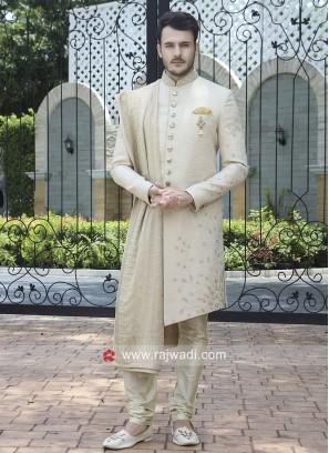 Art Silk Fabric Sherwani With Stylish Dupatta