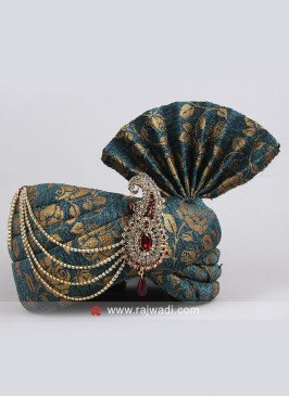 Jute Fabric Safa With Stylish Broach