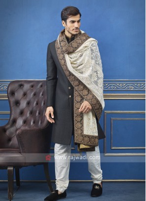 Jute Silk Black Indo Western