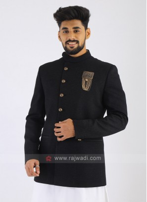 Jute Silk Black Jodhpuri Suit