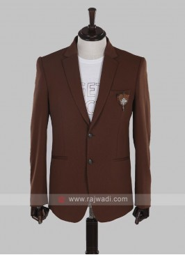 jute silk brown blazer