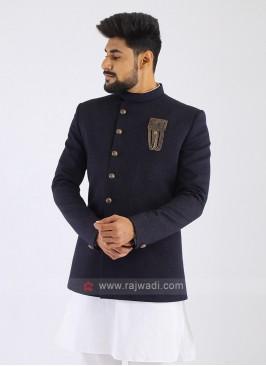Jute Silk Dark Blue Jodhpuri Suit