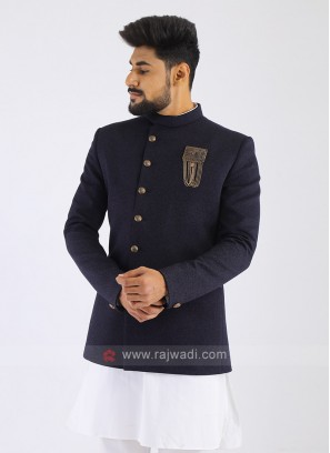 Jute Silk Dark Blue Jodhpuri Suit
