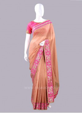 Jute Silk Embellished Saree with Blouse Piece