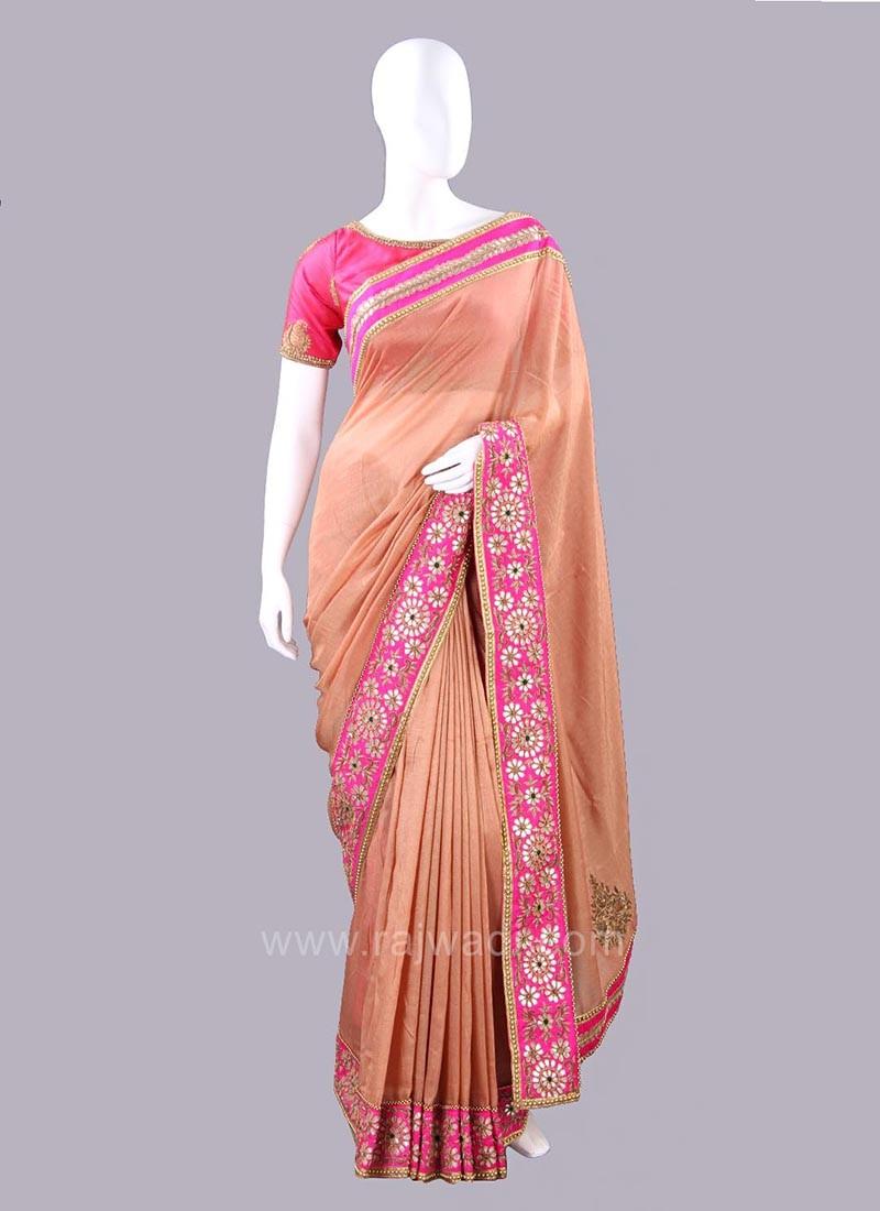 Jute Silk Embellished Saree with Blouse Piece