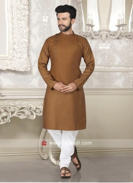 Jute Silk Fabric Brown Kurta Set