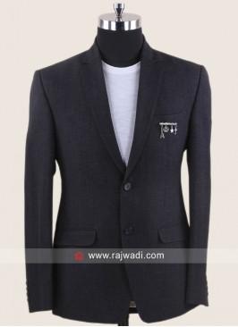 Jute Silk Fabric Dark Grey Blazer