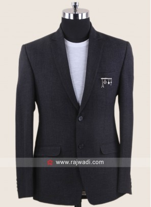 Jute Silk Fabric Dark Grey Blazer