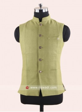 Jute Silk Fabric Koti With Fancy Buttons