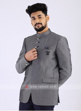 Jute Silk Grey Jodhpuri Suit
