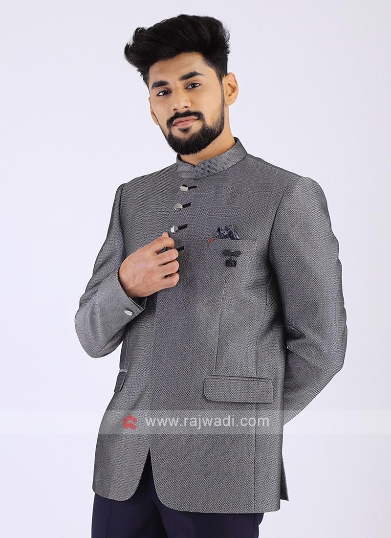 Jute Silk Grey Jodhpuri Suit
