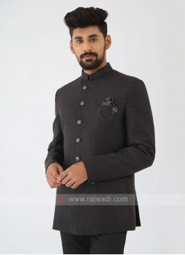 Jute Silk Jodhpuri Suit