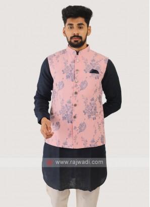Jute Silk Nehru Jacket In Pink