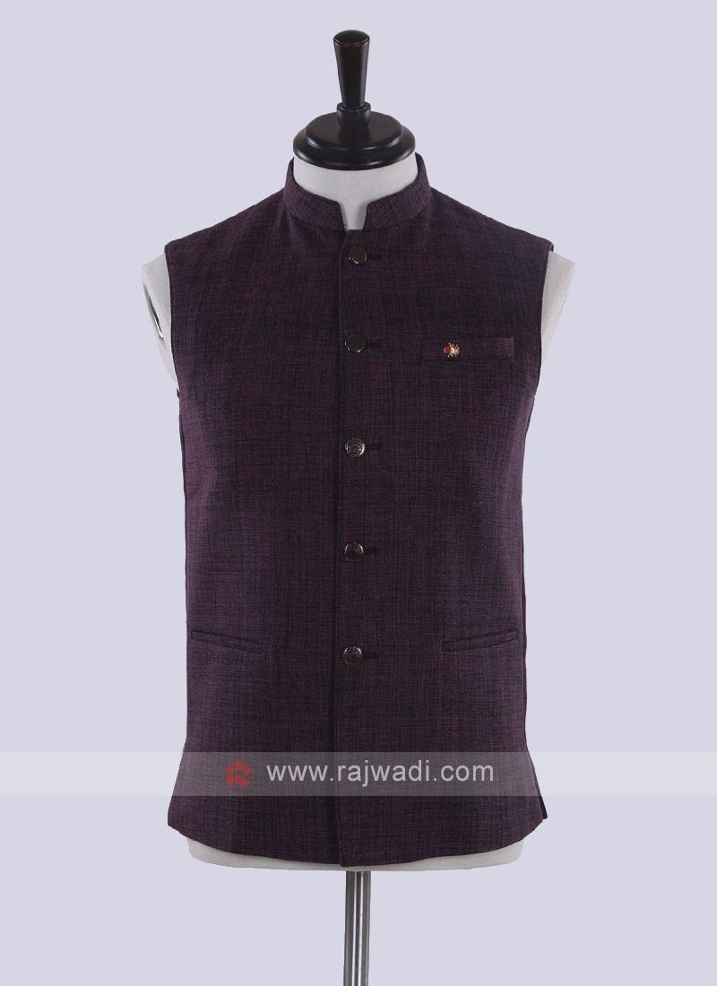 jute silk solid purple koti