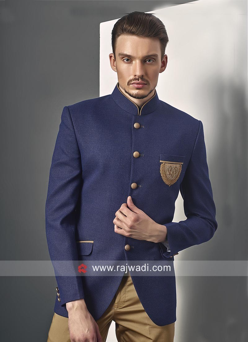 Juth Silk Fabric Party Wear Jodhpuri Suit