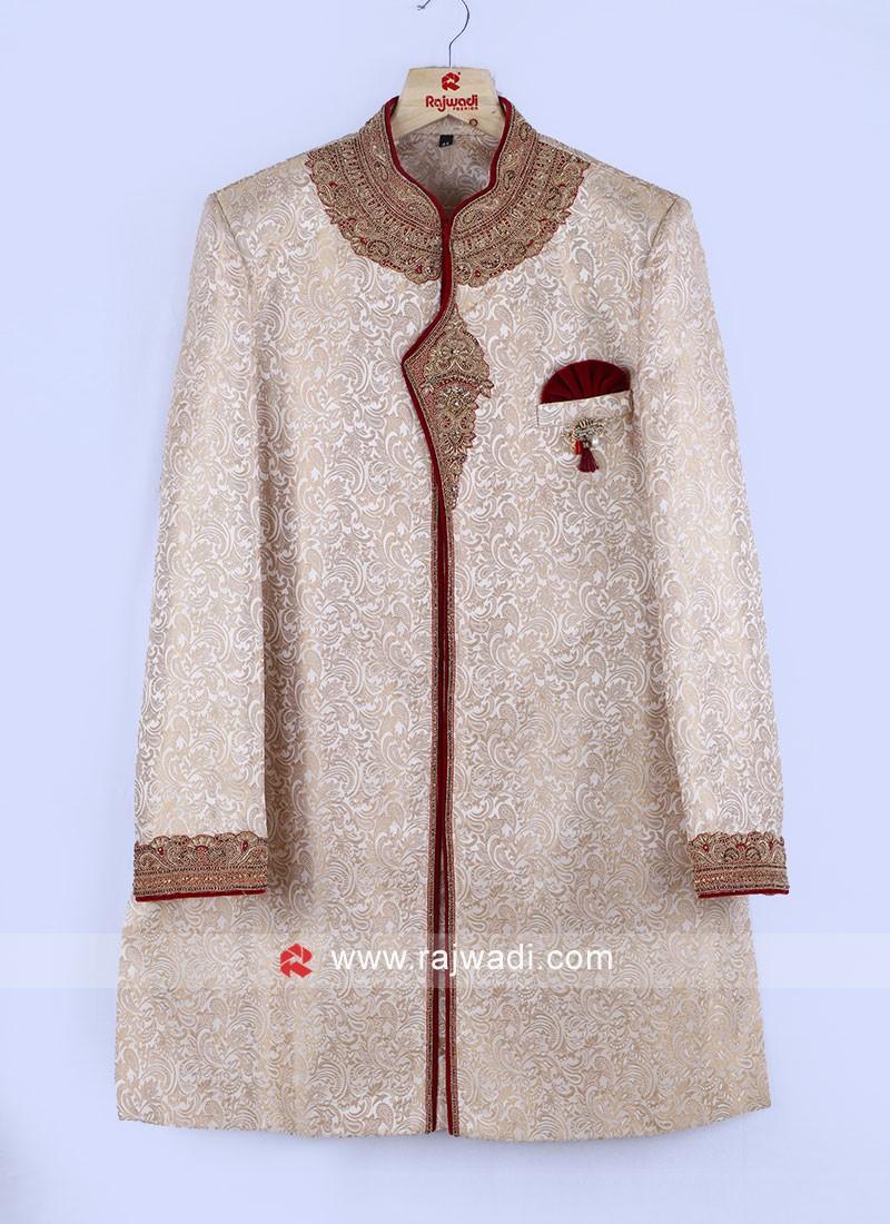 Juth Silk Grooms Sherwani