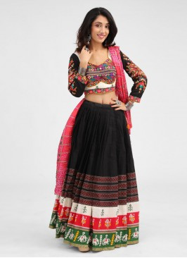 Kachhi Work Chaniya Choli In Cotton Silk