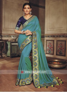Kajal Aggarwal Art Silk Embroidery Saree