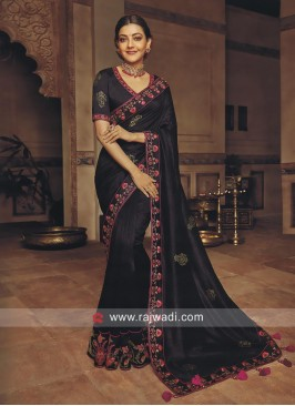 Kajal Aggarwal Art Silk Saree in Black
