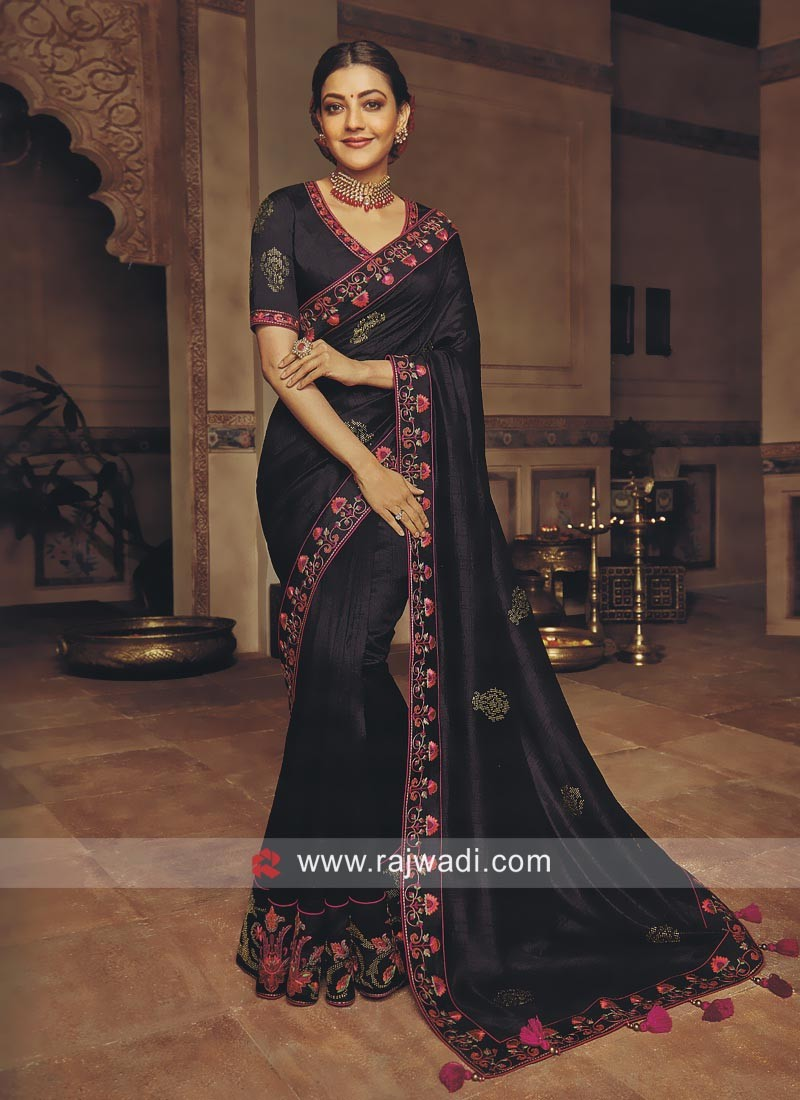 f3371fb679211a Kajal Aggarwal Art Silk Saree in Black. Tap to expand