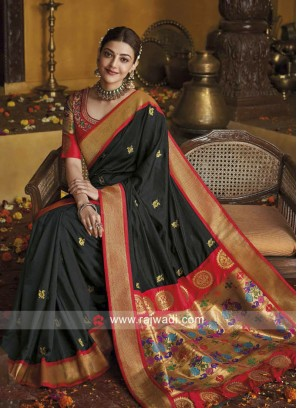 Kajal Aggarwal Black Saree with Blouse
