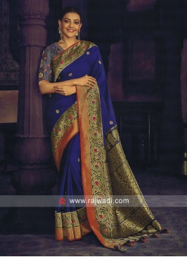 Kajal Aggarwal Blue Saree with Blouse